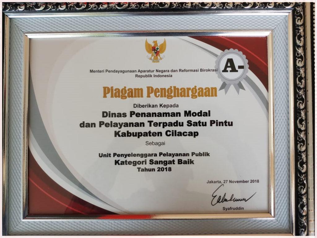 DPMPTSP Cilacap Raih Penghargaan Pelayanan Publik Sangat Baik